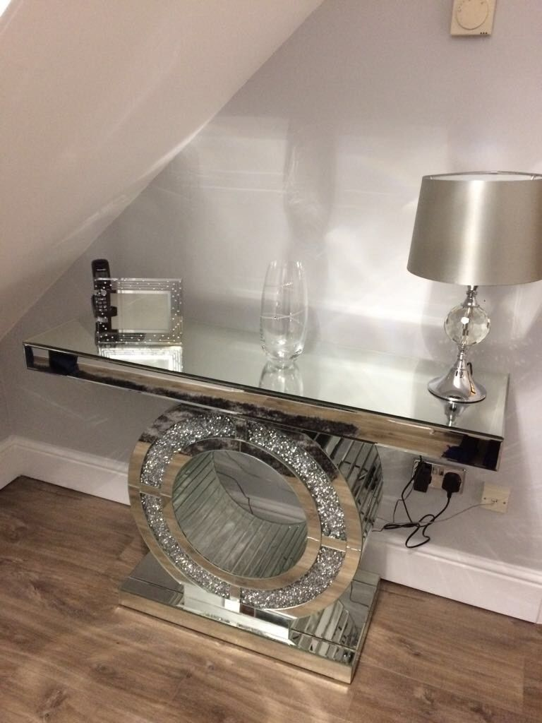 Crushed Diamond Mirrored Console Table Enchanted Furnishings