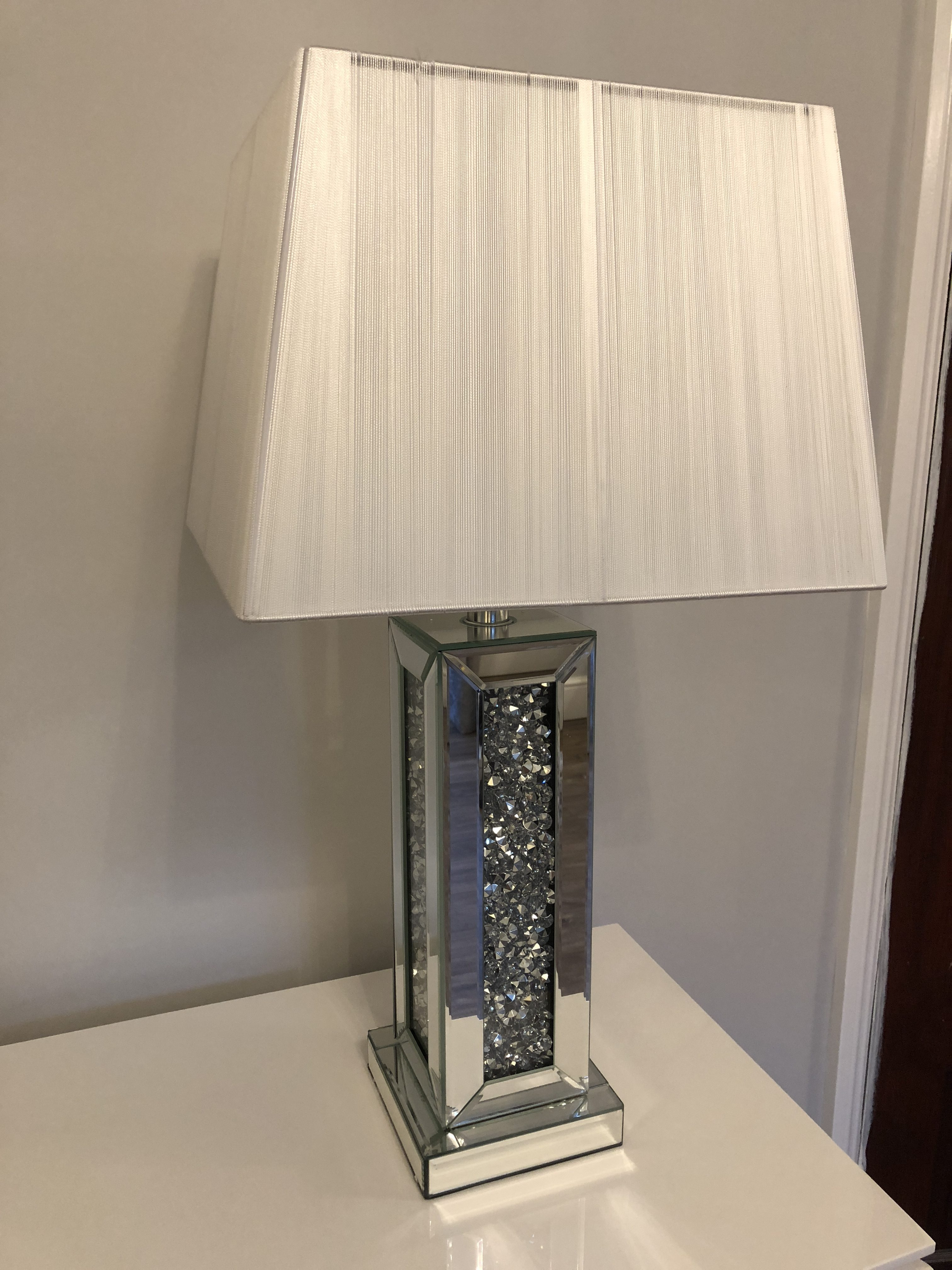 Crushed Diamond Square Table Lamp with White Shade ...