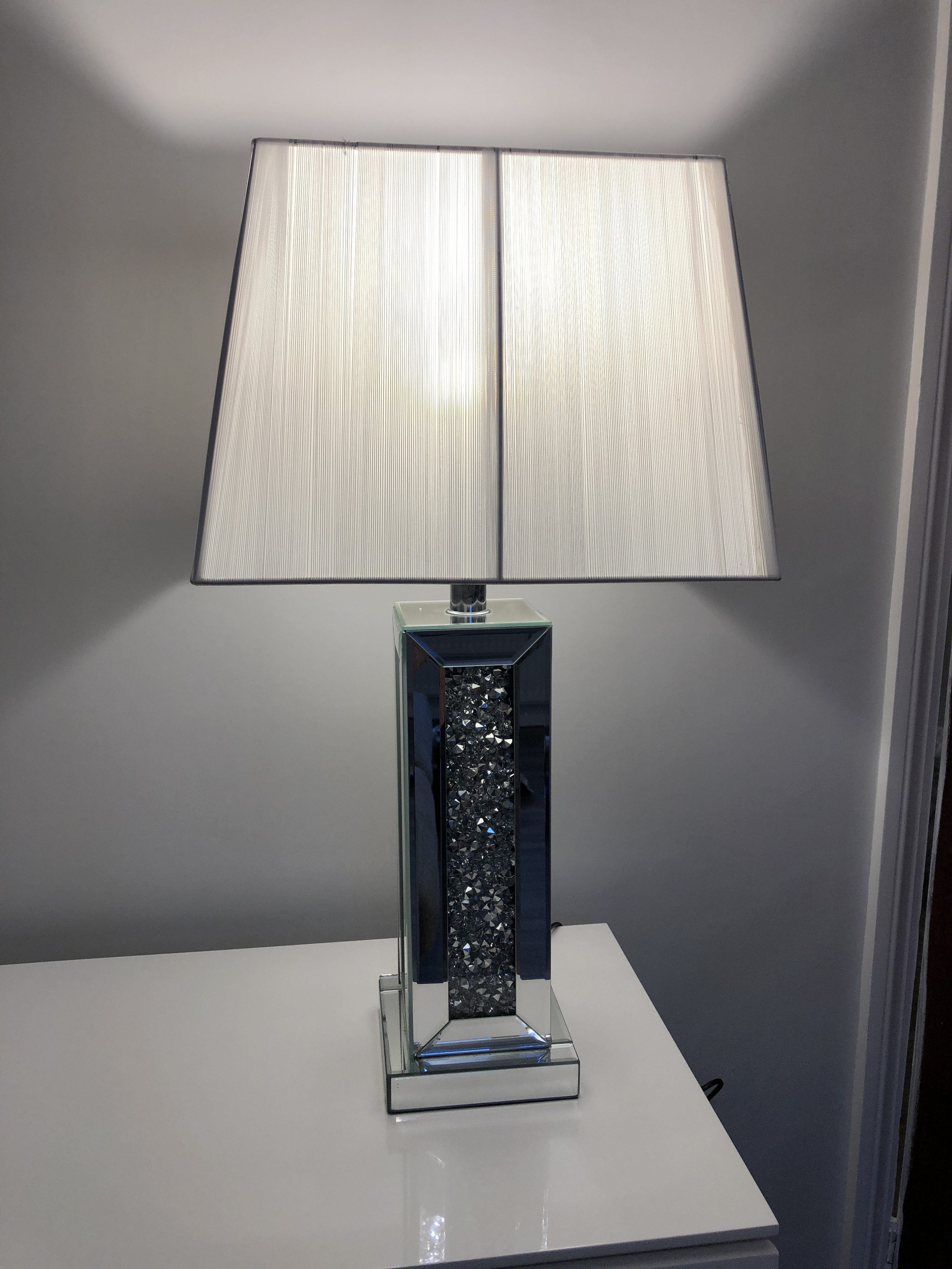 Crushed Diamond Square Table Lamp With White Shade