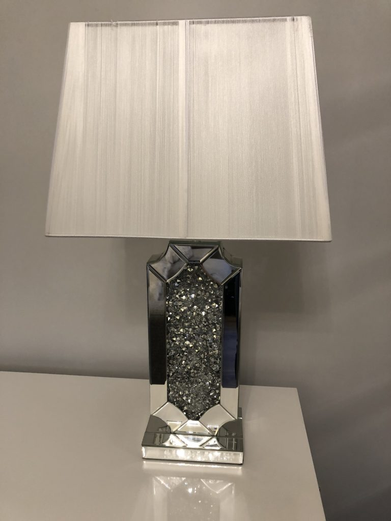 Crushed Diamond Mirrored Table Lamp With Black Shade