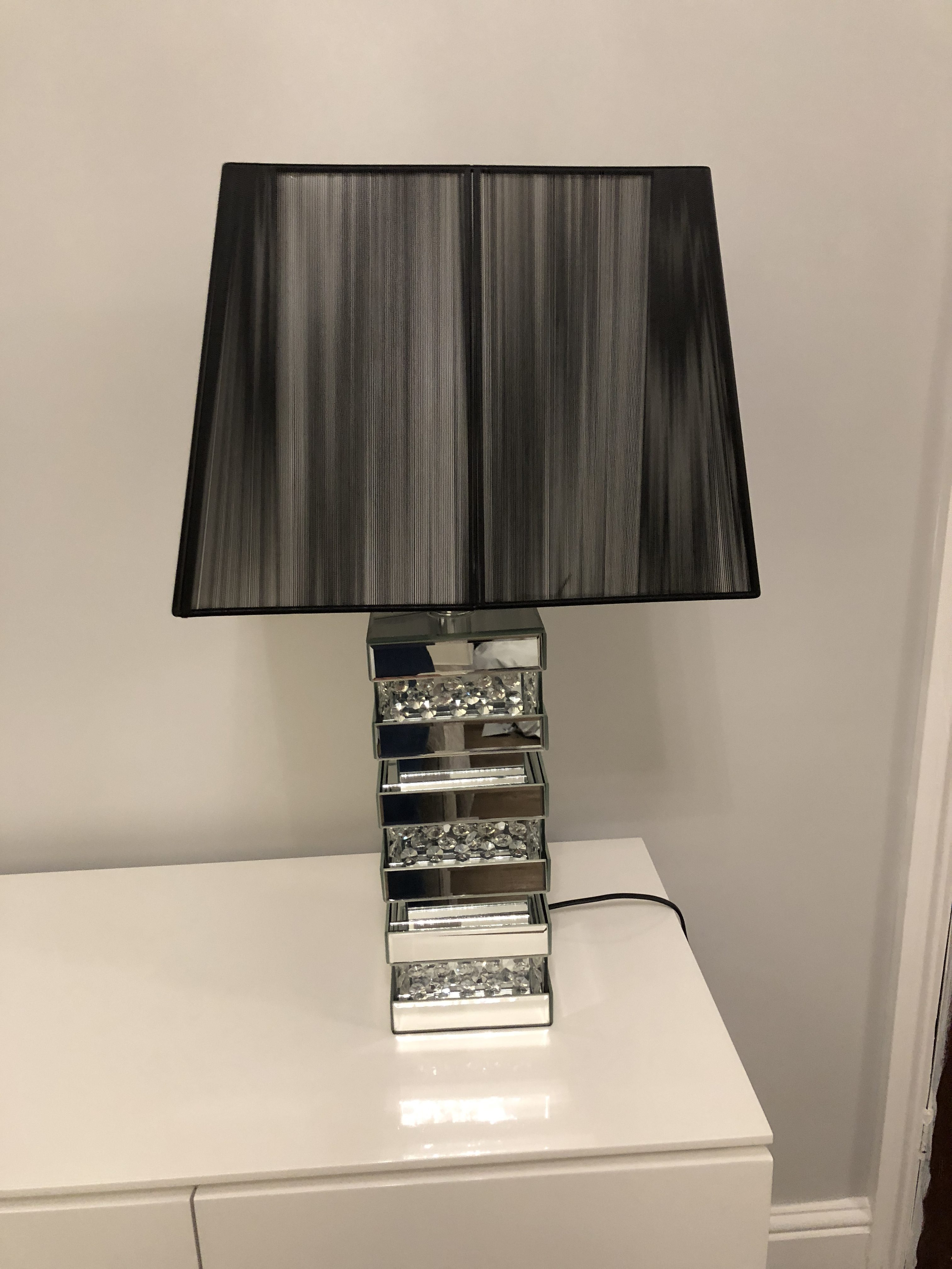 Floating Crystal 3 Layer Table Lamp With Black Shade