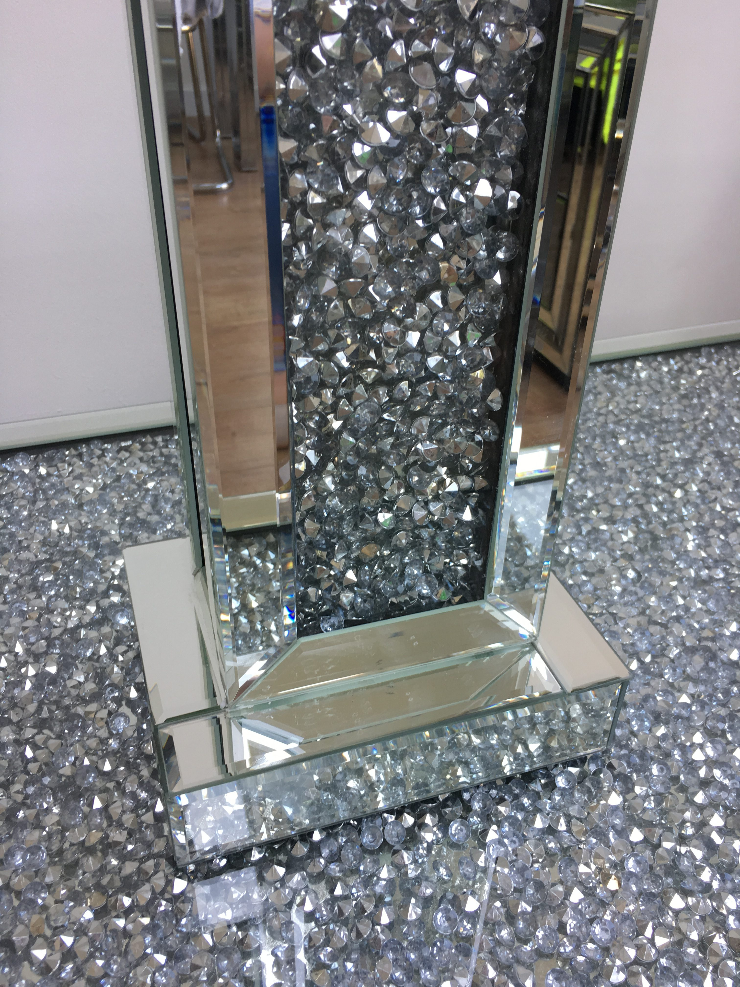 Crushed Diamond Mirrored Tall Rectangle Table Lamp